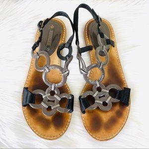 {Celine} Vintage Leather Flat Ring Sandals